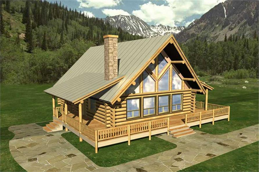 4-Bedroom, 2911 Sq Ft Log Cabin Home Plan - 132-1217 - Main Exterior