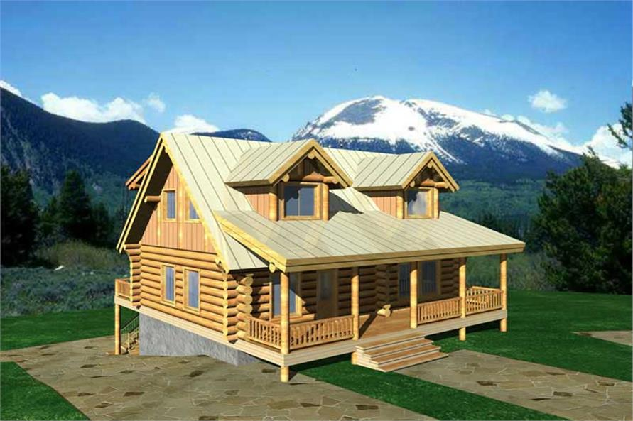 1-Bedroom, 2591 Sq Ft Log Cabin Home Plan - 132-1220 - Main Exterior