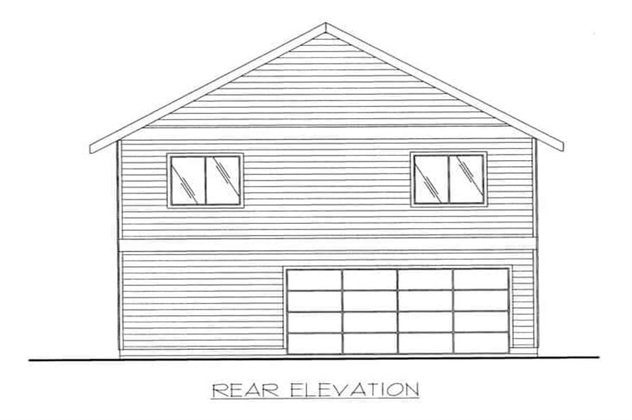 Home Plan Rear Elevation of this 2-Bedroom,1320 Sq Ft Plan -132-1222
