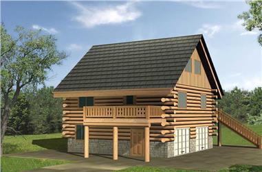 1-Bedroom, 1110 Sq Ft Cabin Home Plan - 132-1223 - Main Exterior
