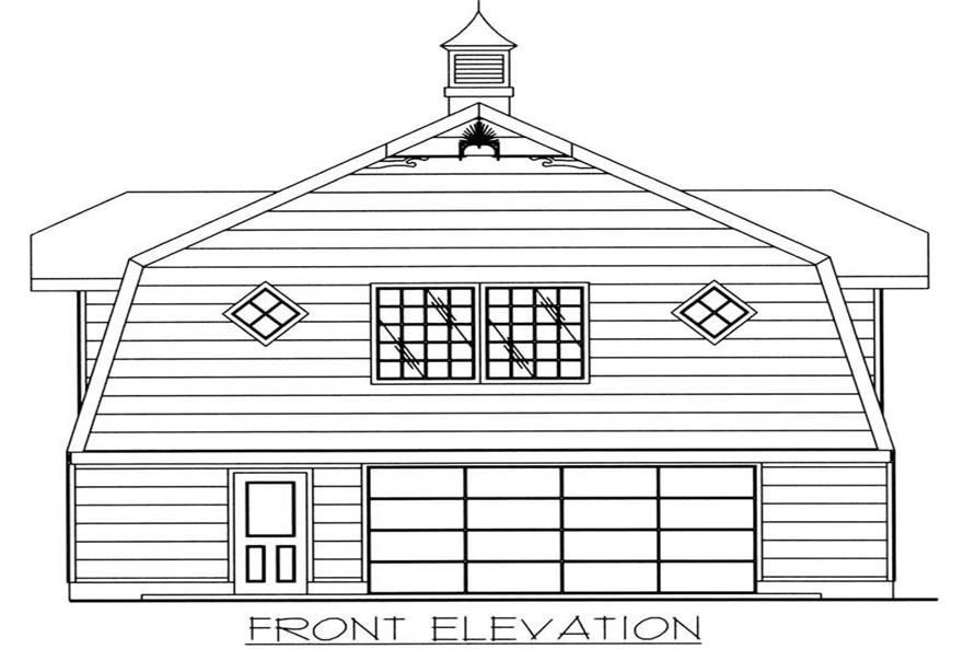 Home Plan Front Elevation of this 1-Bedroom,896 Sq Ft Plan -132-1225