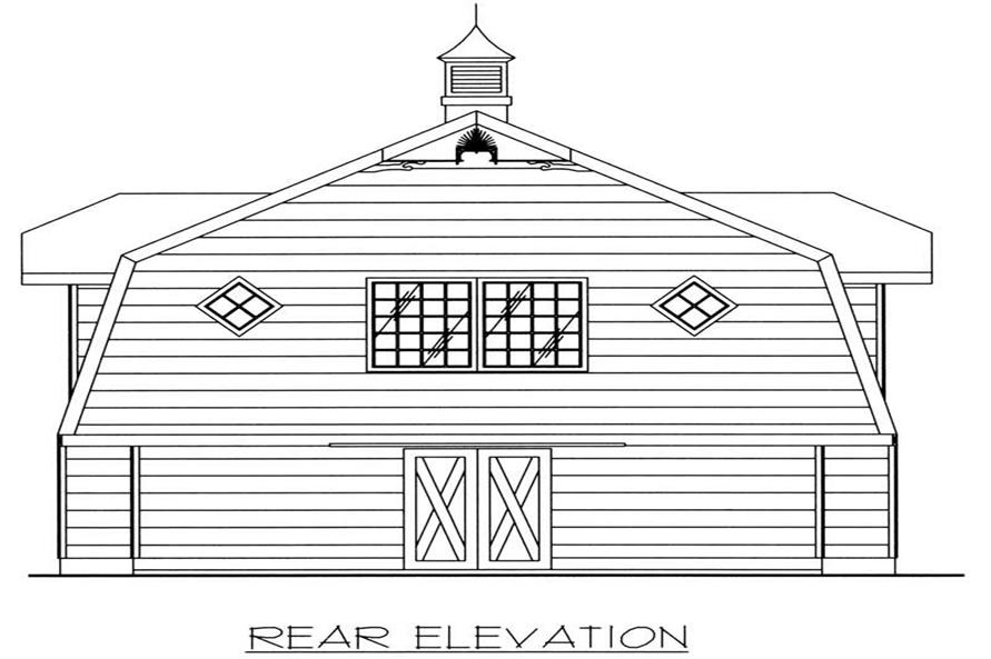Home Plan Rear Elevation of this 1-Bedroom,896 Sq Ft Plan -132-1225