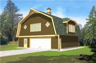 1-Bedroom, 896 Sq Ft Garage Home Plan - 132-1225 - Main Exterior
