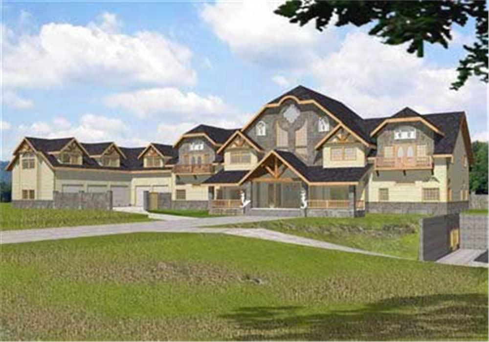 This image shows the front elevation for these Luxury House Plans.