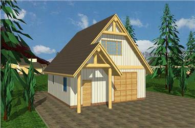 1-Bedroom, 540 Sq Ft Garage House Plan - 132-1234 - Front Exterior