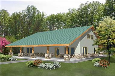 2-Bedroom, 2051 Sq Ft Barn Style House Plan - 132-1236 - Front Exterior
