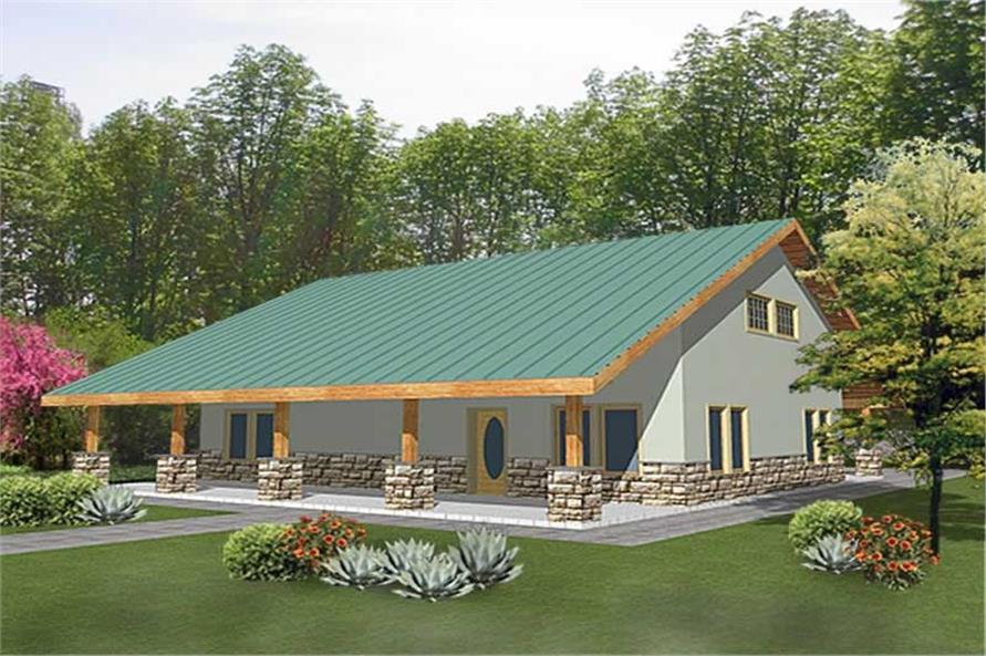 2-Bedroom, 2051 Sq Ft Home Plan - 132-1236 - Main Exterior