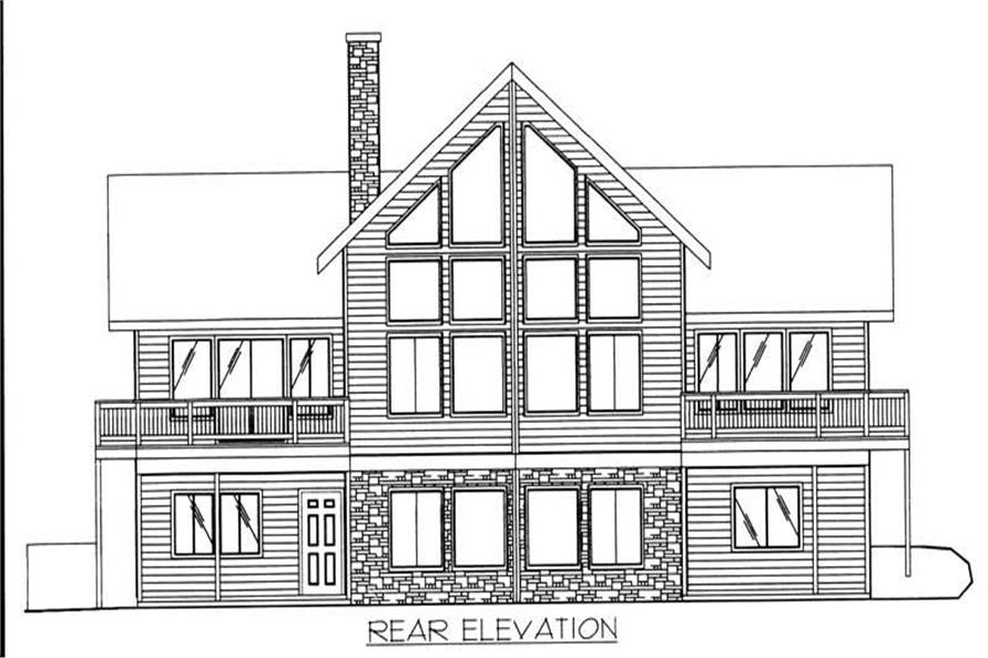 Home Plan Rear Elevation of this 4-Bedroom,3828 Sq Ft Plan -132-1240