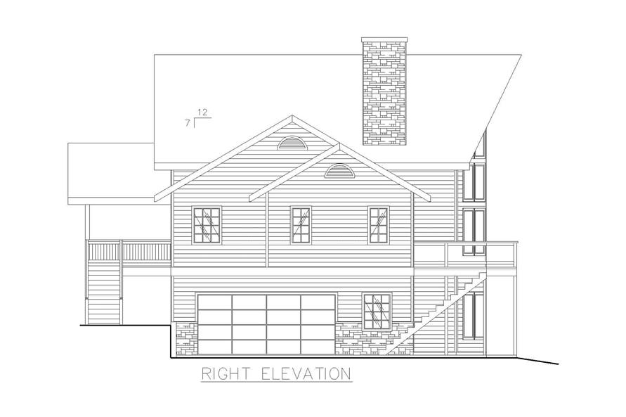 132-1240: Home Plan Right Elevation