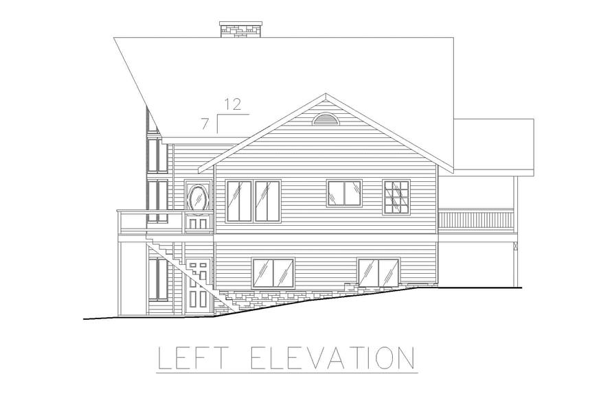 Home Plan Left Elevation of this 4-Bedroom,3828 Sq Ft Plan -132-1240