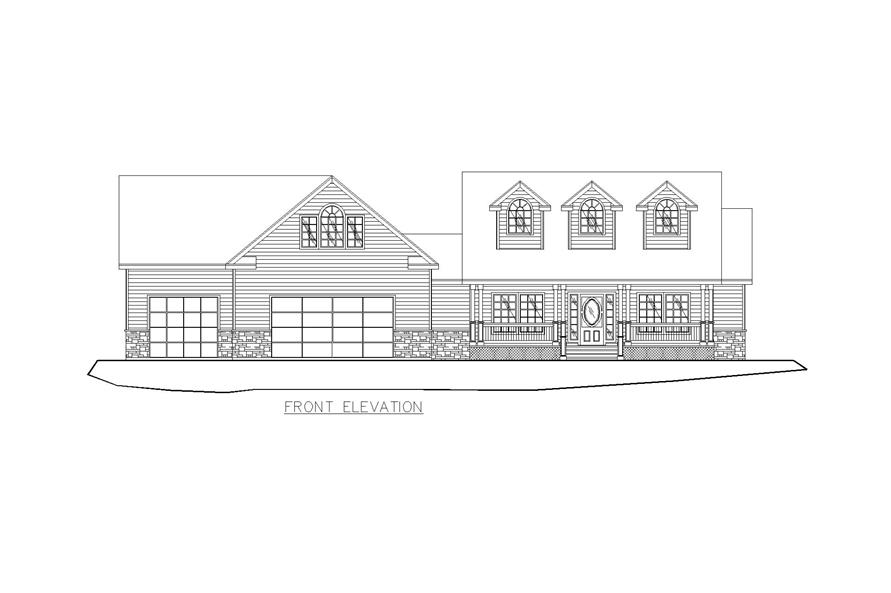 Home Plan Front Elevation of this 4-Bedroom,2022 Sq Ft Plan -132-1257