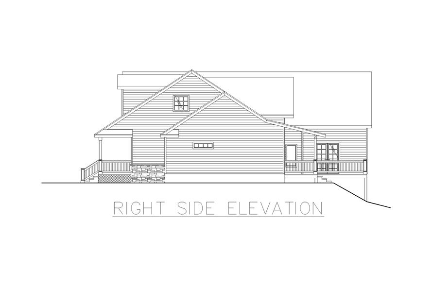 Home Plan Right Elevation of this 4-Bedroom,2022 Sq Ft Plan -132-1257