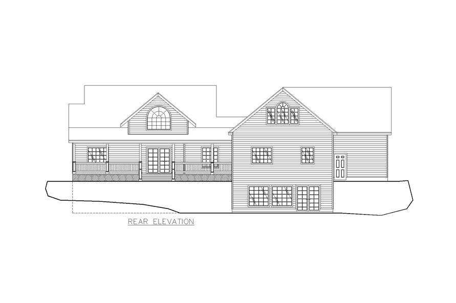 Home Plan Rear Elevation of this 4-Bedroom,2022 Sq Ft Plan -132-1257