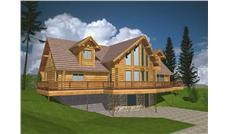 Log Houseplans Computer Rendering.
