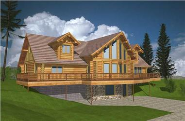 3-Bedroom, 3457 Sq Ft Log Cabin House Plan - 132-1259 - Front Exterior