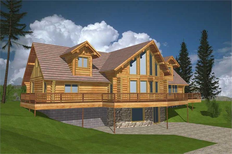 Log Houseplans Computer Rendering.