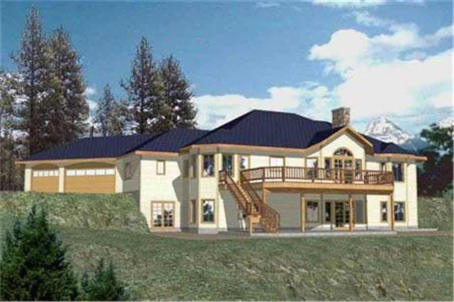 Home Plan Rear Elevation of this 3-Bedroom,2396 Sq Ft Plan -132-1260