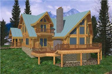 3-Bedroom, 3303 Sq Ft Log Cabin House Plan - 132-1266 - Front Exterior