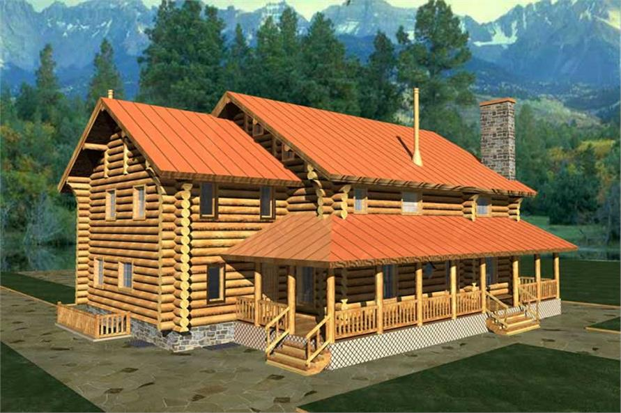 3-Bedroom, 3324 Sq Ft Log Cabin Home Plan - 132-1268 - Main Exterior