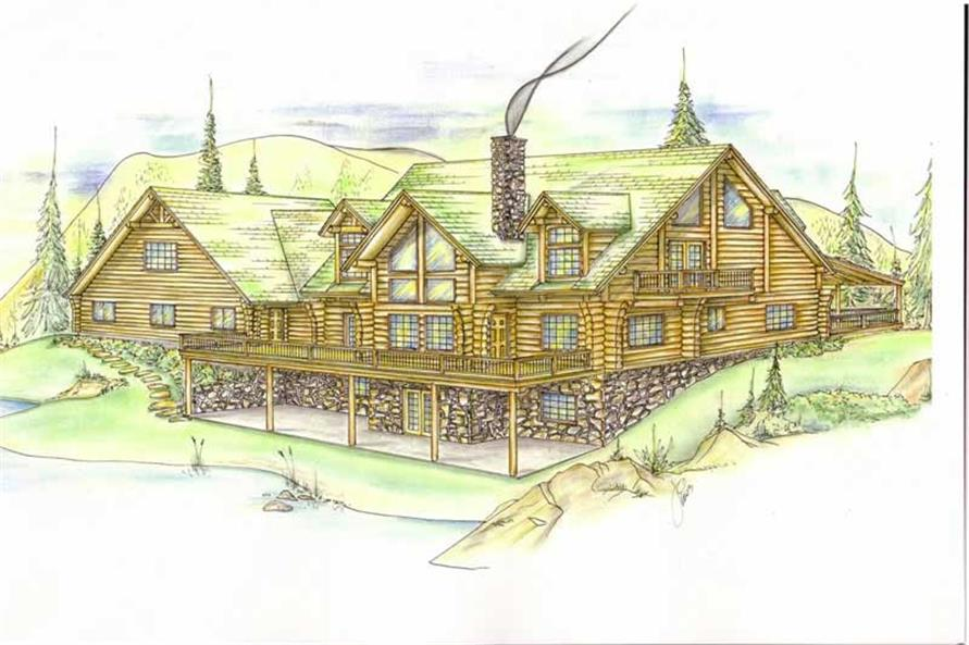 6-Bedroom, 2396 Sq Ft Log Cabin Home Plan - 132-1269 - Main Exterior