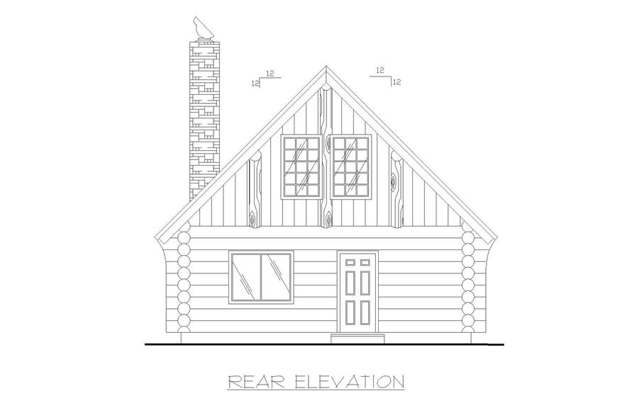 Home Plan Rear Elevation of this 1-Bedroom,1040 Sq Ft Plan -132-1271