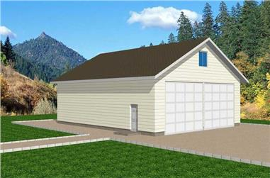 1-Bedroom, 360 Sq Ft Garage House Plan - 132-1272 - Front Exterior