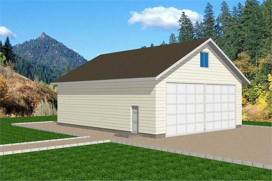 1-Bedroom, 360 Sq Ft Garage House Plan - 132-1272 - Front Exterior