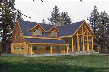 5-Bedroom, 3492 Sq Ft Log Cabin Home Plan - 132-1273 - Main Exterior