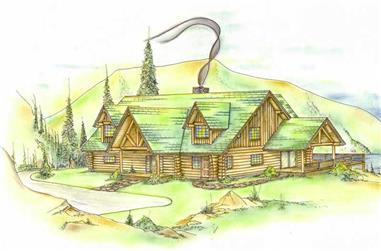 3-Bedroom, 2155 Sq Ft Log Cabin House Plan - 132-1276 - Front Exterior