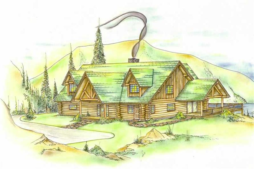 3-Bedroom, 2155 Sq Ft Log Cabin House Plan - 132-1276 - Front Exterior