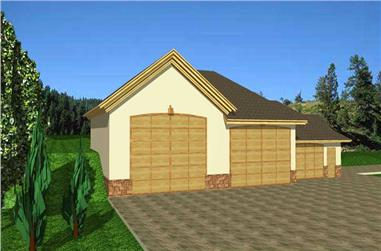 1-Bedroom, 2600 Sq Ft Garage House Plan - 132-1284 - Front Exterior