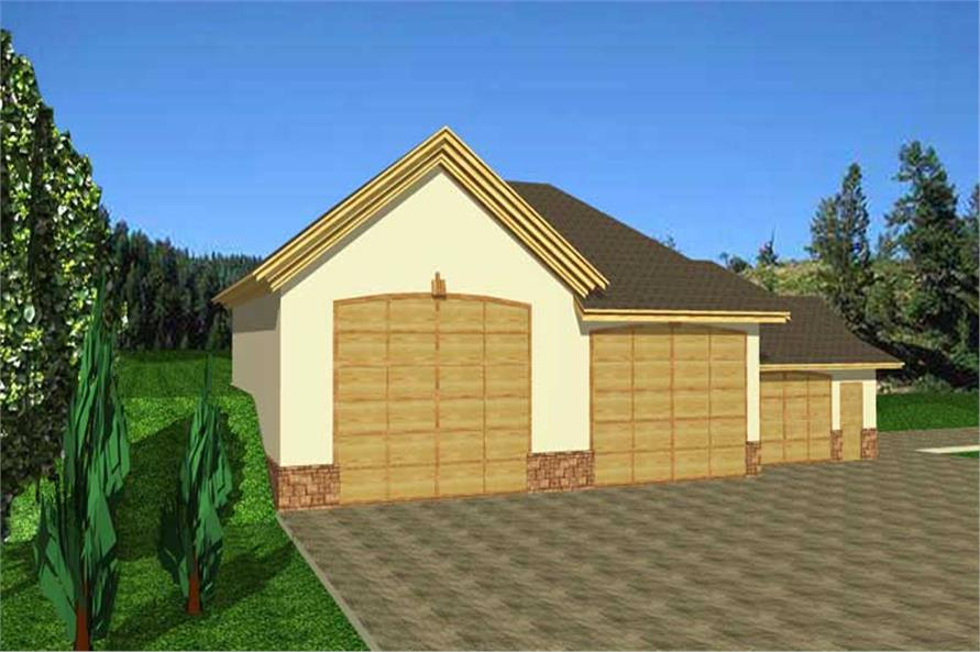 1-Bedroom, 2600 Sq Ft Garage House Plan - 132-1284 - Front Exterior