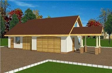 1-Bedroom, 188 Sq Ft Garage House Plan - 132-1285 - Front Exterior