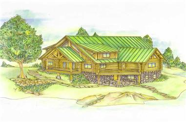 2-Bedroom, 4215 Sq Ft Log Cabin Home Plan - 132-1287 - Main Exterior