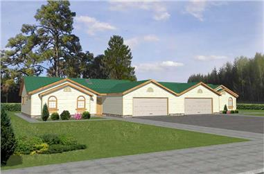 3-Bedroom, 1359 Sq Ft Multi-Unit House Plan - 132-1290 - Front Exterior