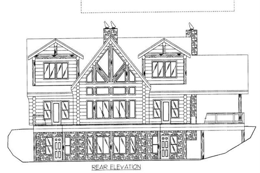 Home Plan Rear Elevation of this 4-Bedroom,4564 Sq Ft Plan -132-1291