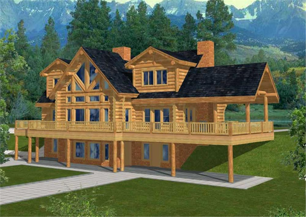 Front elevation of Log Cabin home (ThePlanCollection: House Plan #132-1291)