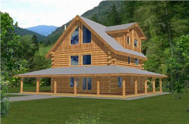 4-Bedroom, 2042 Sq Ft Log Cabin House Plan - 132-1292 - Front Exterior