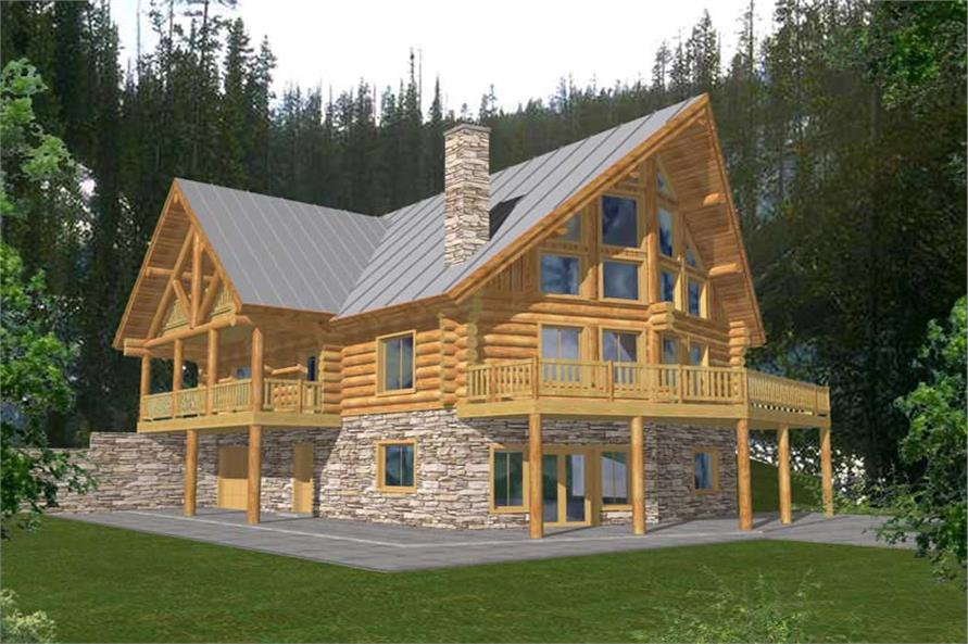 4-Bedroom, 3725 Sq Ft Log Cabin House Plan - 132-1293 - Front Exterior