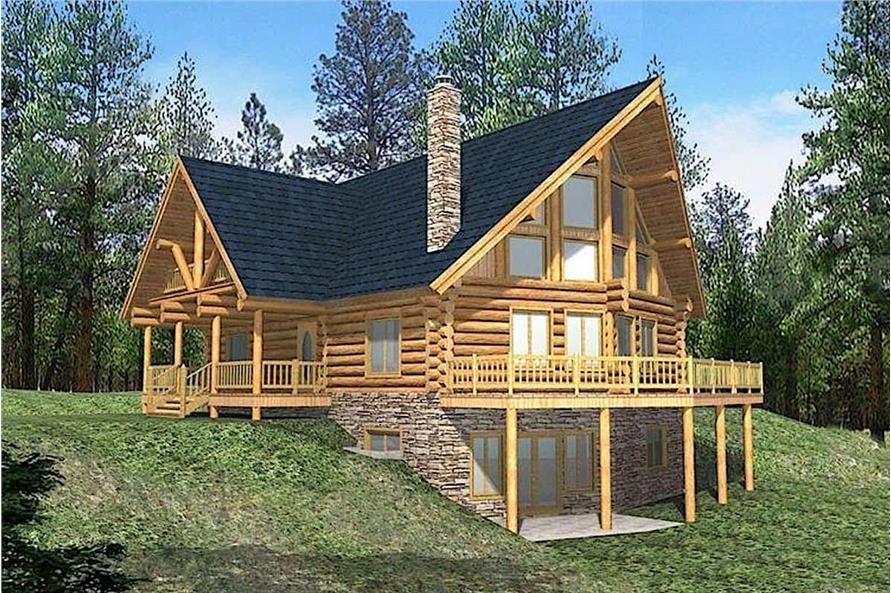 6-Bedroom, 3725 Sq Ft Log Cabin House - Plan #132-1293 - Front Exterior