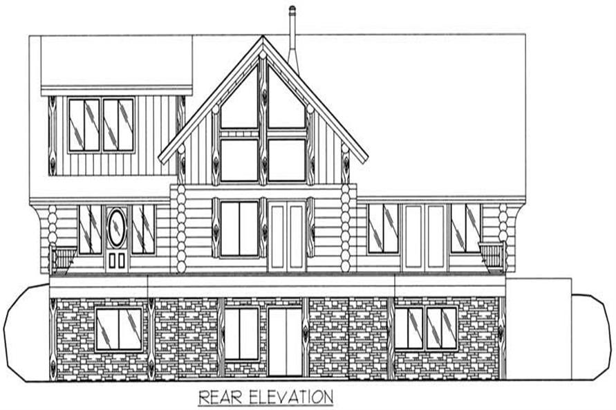 Home Plan Rear Elevation of this 3-Bedroom,2513 Sq Ft Plan -132-1294