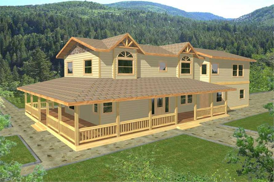 3-Bedroom, 3429 Sq Ft Country Home Plan - 132-1297 - Main Exterior