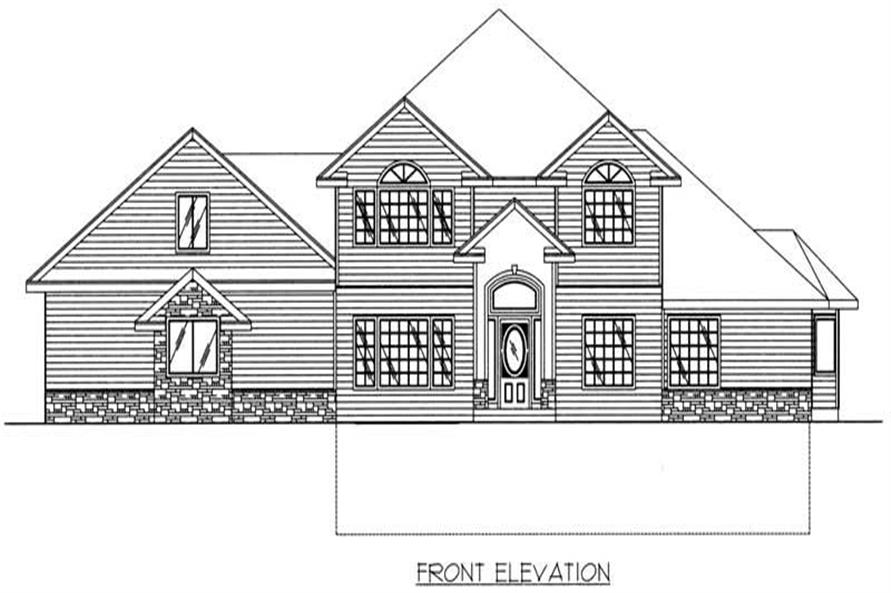 Home Plan Front Elevation of this 3-Bedroom,4549 Sq Ft Plan -132-1300