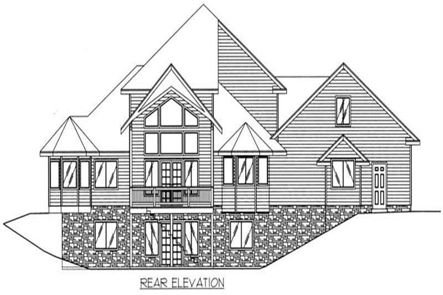 Home Plan Rear Elevation of this 3-Bedroom,4549 Sq Ft Plan -132-1300