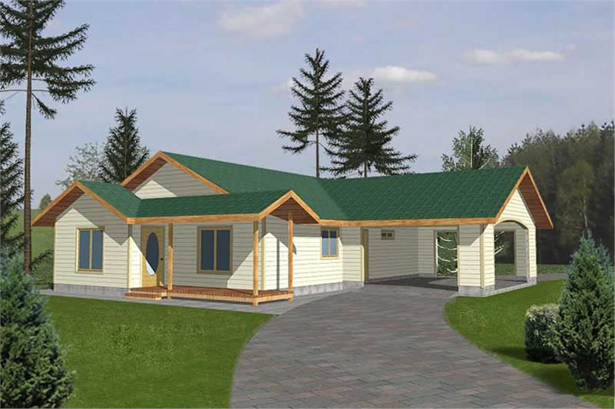 3-Bedroom, 1428 Sq Ft Country Home Plan - 132-1301 - Main Exterior