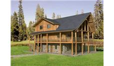 Log Home Plans main elevation.