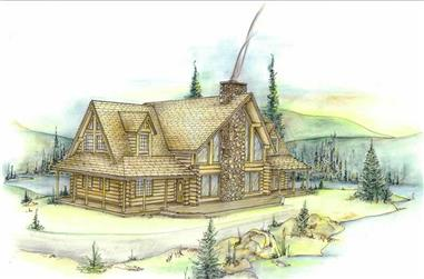 3-Bedroom, 2683 Sq Ft Log Cabin House Plan - 132-1303 - Front Exterior