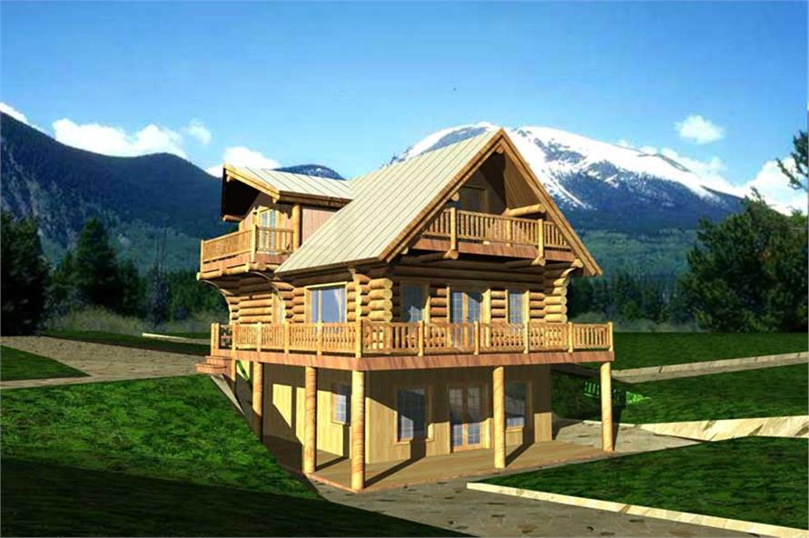 3-Bedroom, 1923 Sq Ft Log Cabin Home Plan - 132-1304 - Main Exterior
