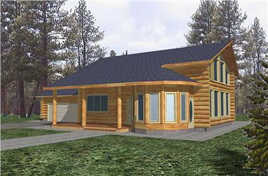 1-Bedroom, 3191 Sq Ft Log Cabin Home Plan - 132-1305 - Main Exterior