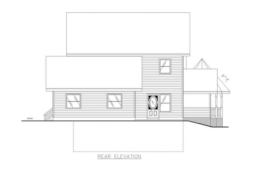 Home Plan Rear Elevation of this 3-Bedroom,2312 Sq Ft Plan -132-1307